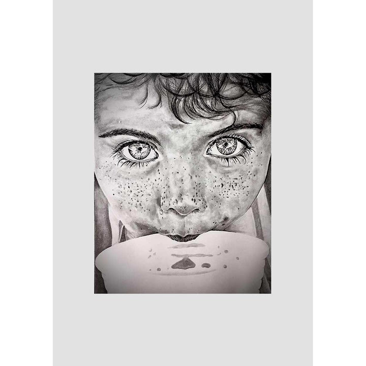 Childhood, Mixed technique, pure graphic pencil-graphite by Romano Davide - Fp Art Online