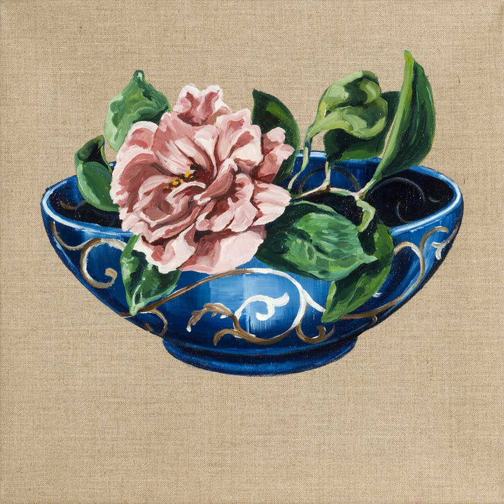 Bowl with Peony II, Oil on canvas by De Benedetti Benedetta - Fp Art Online