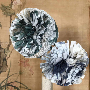 Large Chrysanthemums, Paper flowers made out of old books by Crizu - Fp Art Online