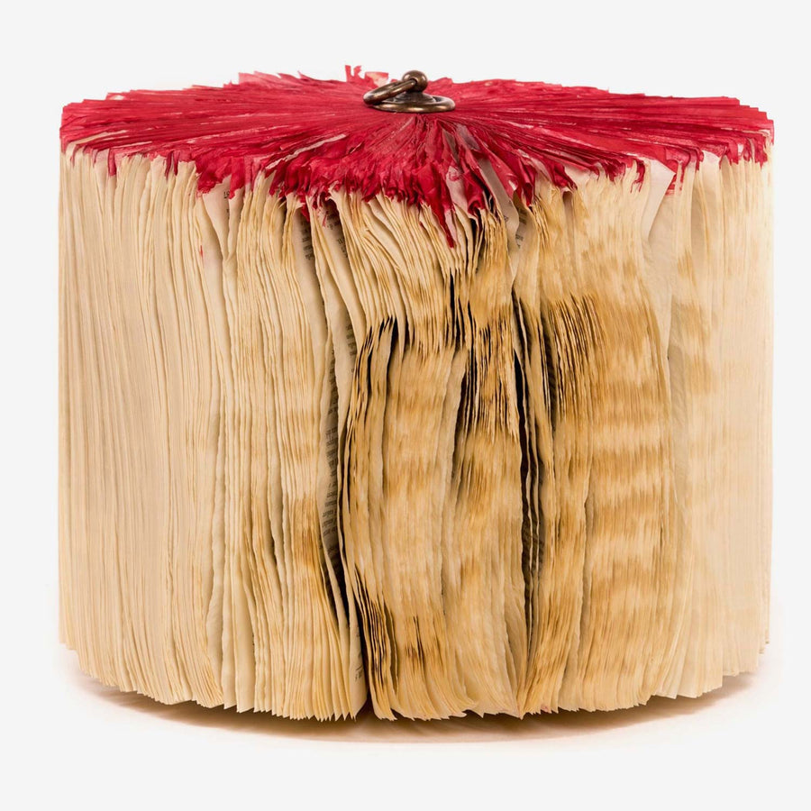 Blown Red Medium, Paper sculpture made out of old folded books by Crizu - Fp Art Online