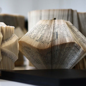 Lantern Medium, Paper sculpture made out of old folded books by Crizu - Fp Art Online
