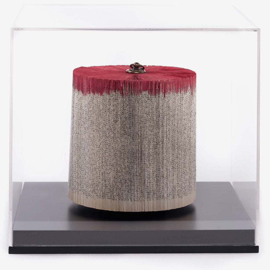Trunk Red Small, Paper sculpture made out of old folded books by Crizu - Fp Art Online