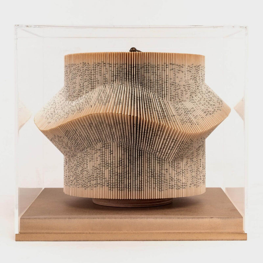 Wave Large, Paper sculpture made out of old folded books by Crizu - Fp Art Online