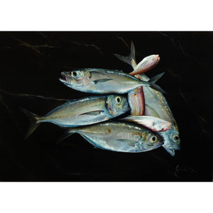Fishes, Oil paint on panel by Giraudo Riccardo - Fp Art Online