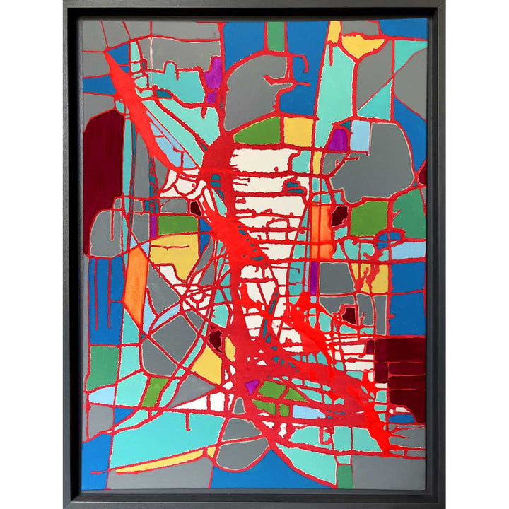 Mondo 2, Mixed media, acrylic on canvas with dark grey frame by M. G. D'Auria - Fp Art Online