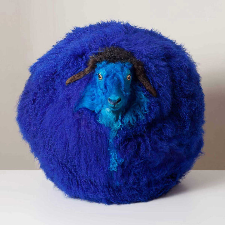 Sheep n.16, Dyed and inflated sheepskin sculpture by Maoyuan Yang - Fp Art Online