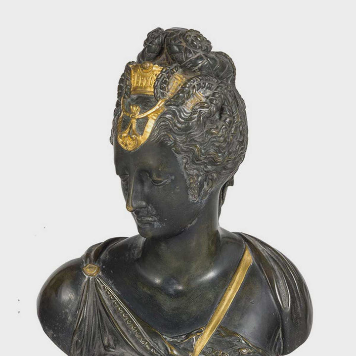 Bronze bust of a noblewoman by Antiques - Fp Art Online