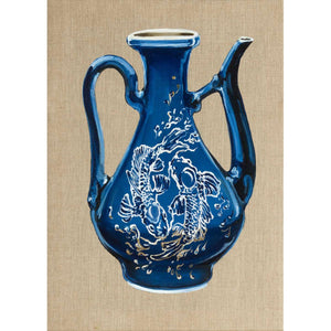 Blue Fish Teapot, Oil on canvas by De Benedetti Benedetta - Fp Art Online