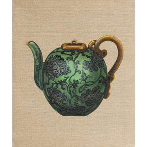 Floral Green Teapot, Oil on canvas by De Benedetti Benedetta - Fp Art Online