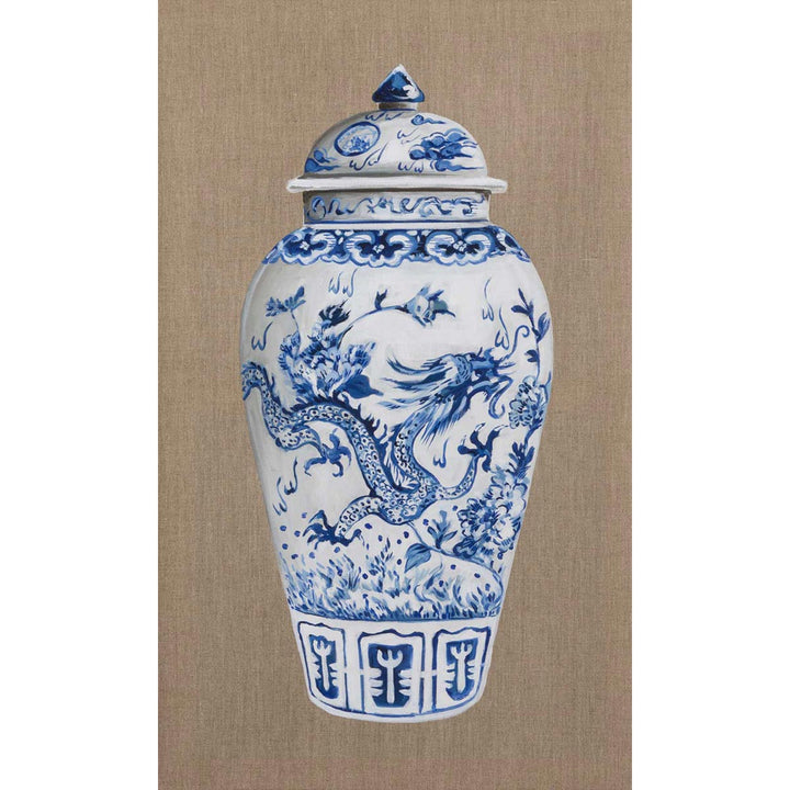 Chinese Vase - Blue I, Oil on canvas by De Benedetti Benedetta - Fp Art Online