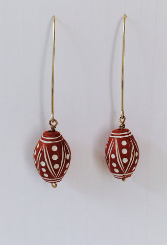 One of a kind - African Terra Cotta bead earrings