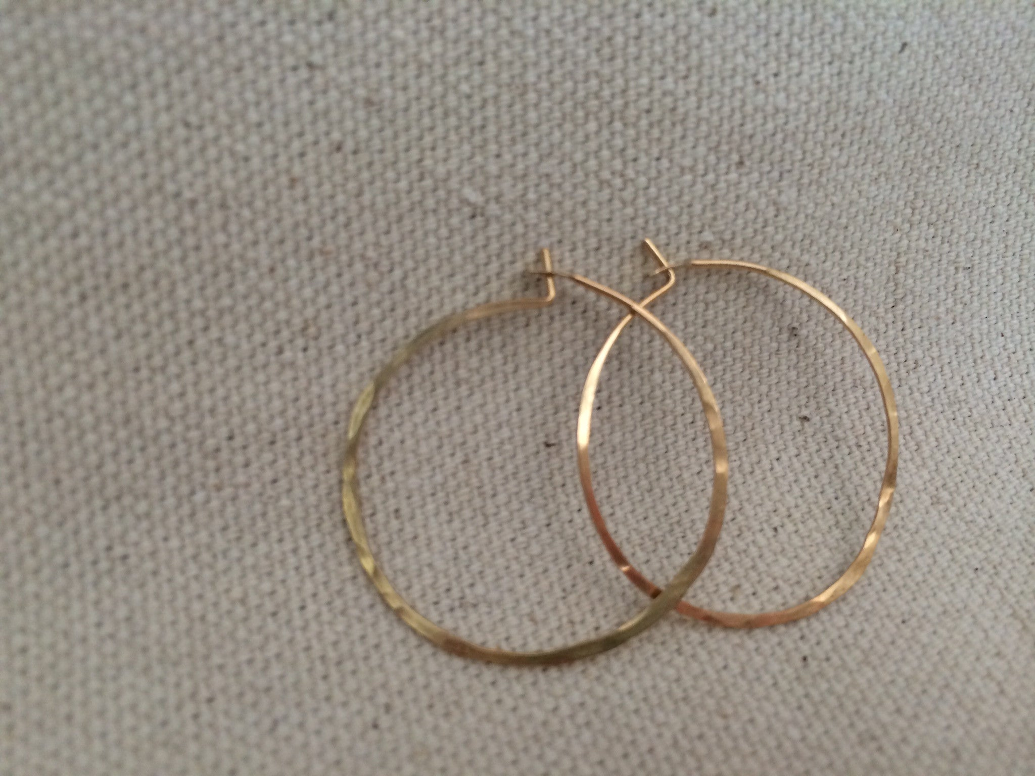 Small hammered gold hoops