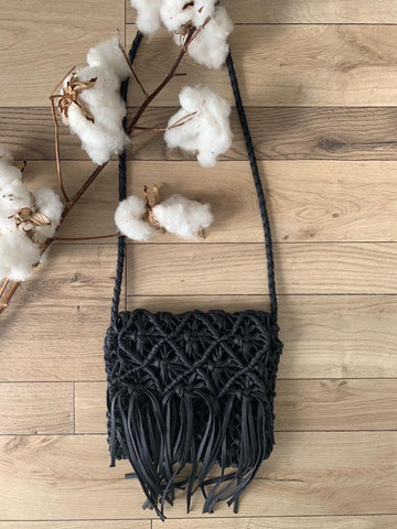 Macrame Fringe Bag-Black
