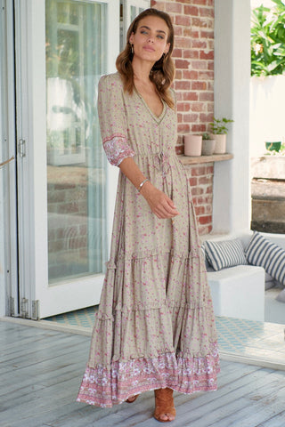 Paloma Maxi dress - Light Khaki with Pink