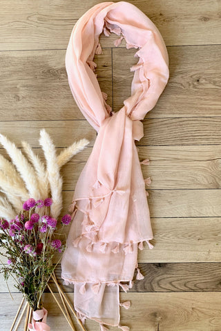 Pink Scarf with lace and tassel detail