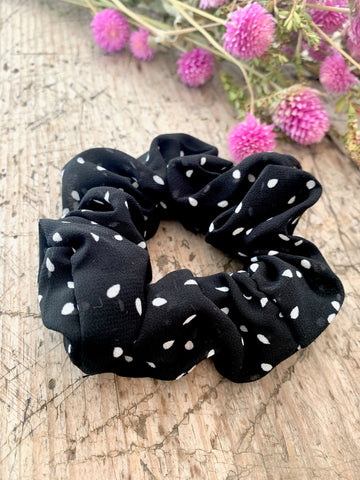 Black and white Polka Dot Hair Scrunchie
