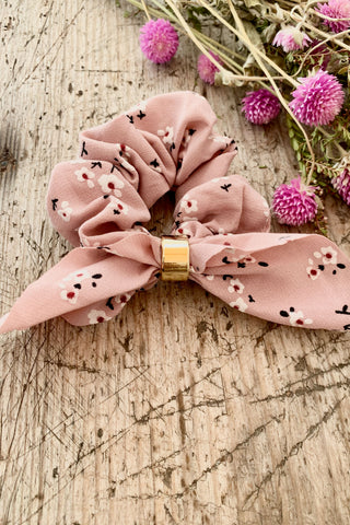 Pink Hair Scrunchie with Bow