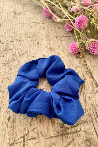 Blue Satin Hair Scrunchie