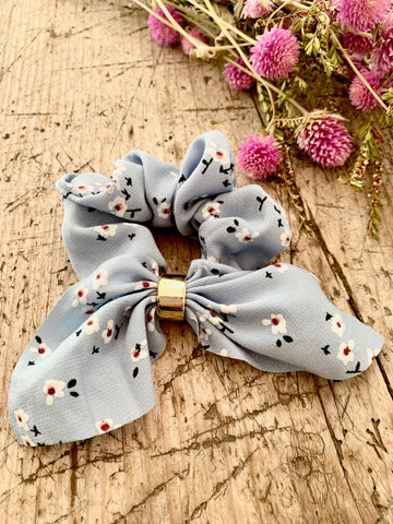 Blue Hair Scrunchie with Bow