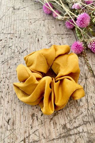 Mustard Satin Hair Scrunchie