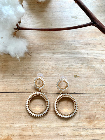 Diamonds and Pearls Gold Earrings