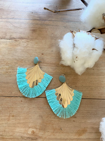 Willow Tassel Earrings-Aqua/Gold-