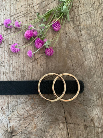 Two Rings belt- Black and Gold