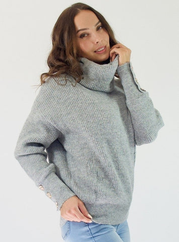 Turtleneck Jumper with Gold Buttons- Grey