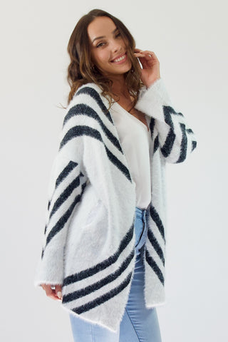 Mia Fluffy Cardi- White/Black