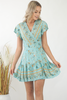 Isabella Paisley Wrap Dress- Sky Blue/Bronze
