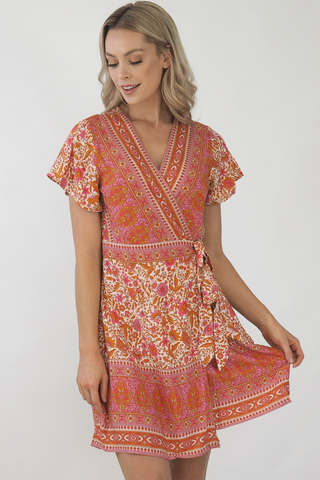 Isabella Paisley Wrap Dress-Pink/Bronze