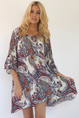 Christiana Paisley Tunic Dress - Boho Dresses - Sage Collective