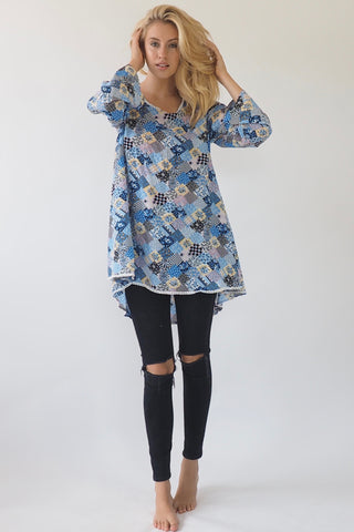Floral blue tunic