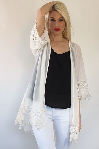 Lace Cape - White