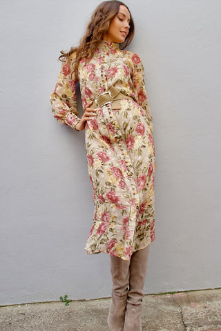 Gwyneth Dress- Vintage rose print
