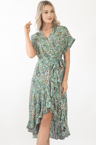 Tash Ruffle Maxi Dress- Green