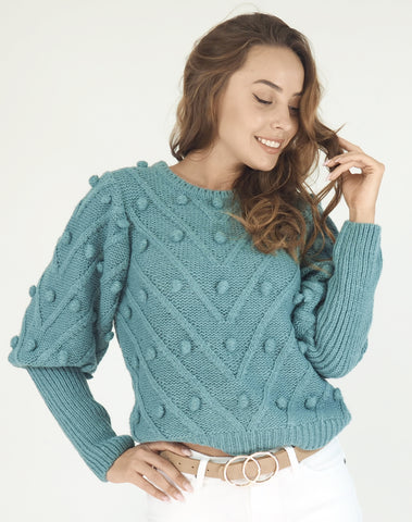 Pom Pom knit jumper- Teal