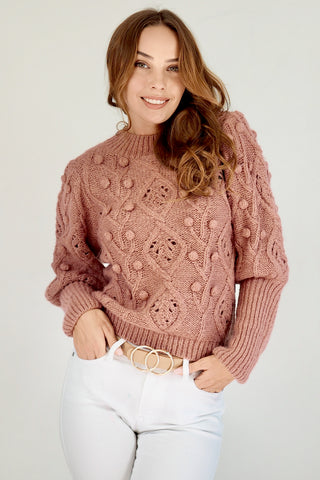 Pom Pom Knit Jumper- Dark Dusty Pink/Rosewood