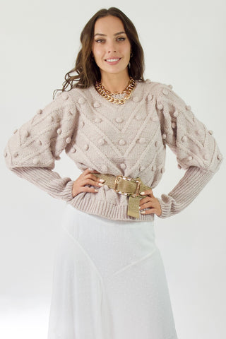 Pom Pom Knit Jumper- Dusty Pink