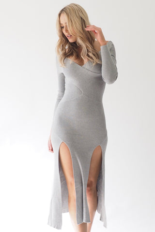 Xanadu Thigh split dress - Grey