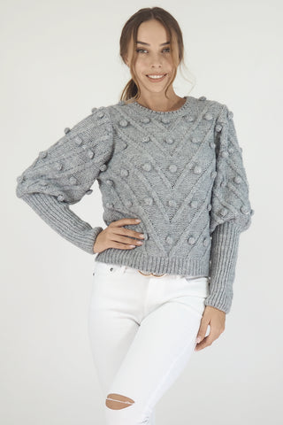 Pom Pom Knit Jumper- Grey