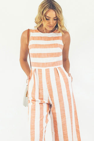 Stripe Cabo Jumpsuit- Light Red/Pink