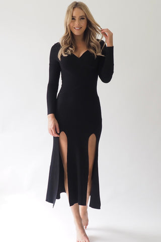 Xanadu Thigh split dress - Black