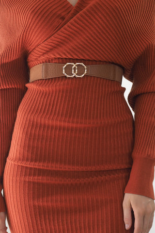 Arianna Stretch belt- Dark Brown