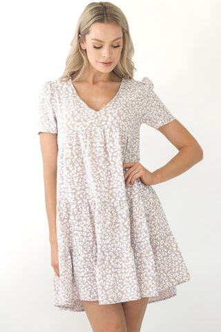 Poppy Dress- Grey Snow Leopard