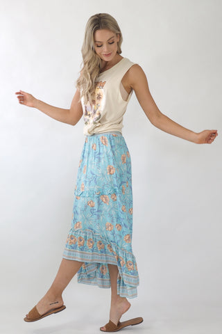 Mia Maxi Skirt- Sky Blue