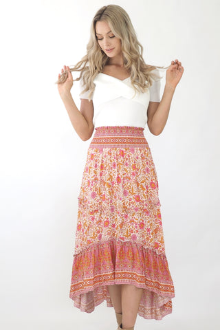 Mia Maxi Skirt- Pink/ Gold