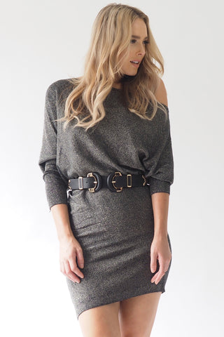 Shimmer Shimmer off the shoulder dress - Chrome
