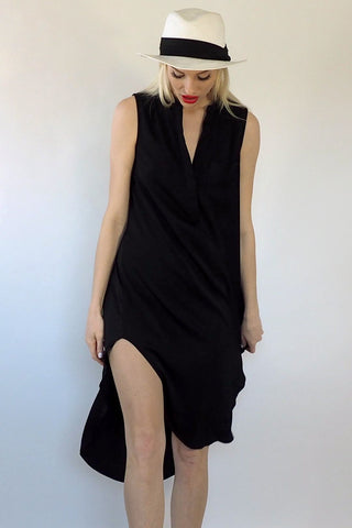 Silk Black T Shirt Dress - Sage Collective
