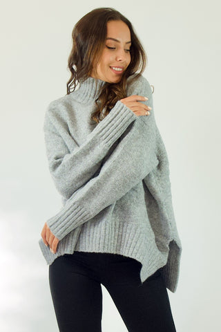 Sachi Grey Hi-Neck jumper